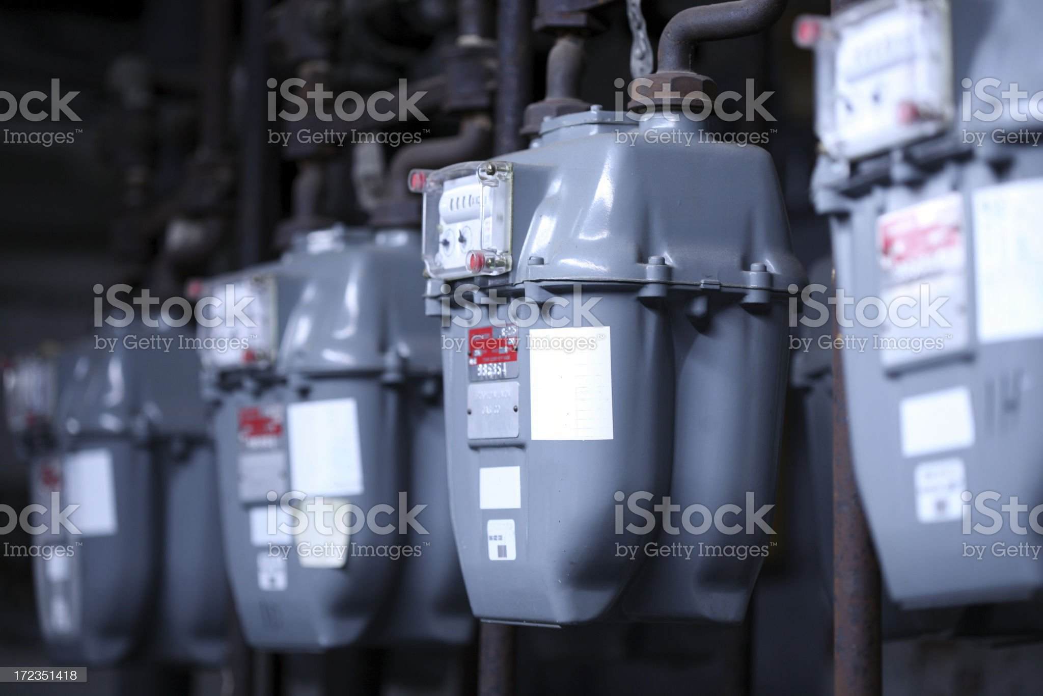 Natural Gas Meters royalty-free stock photo
