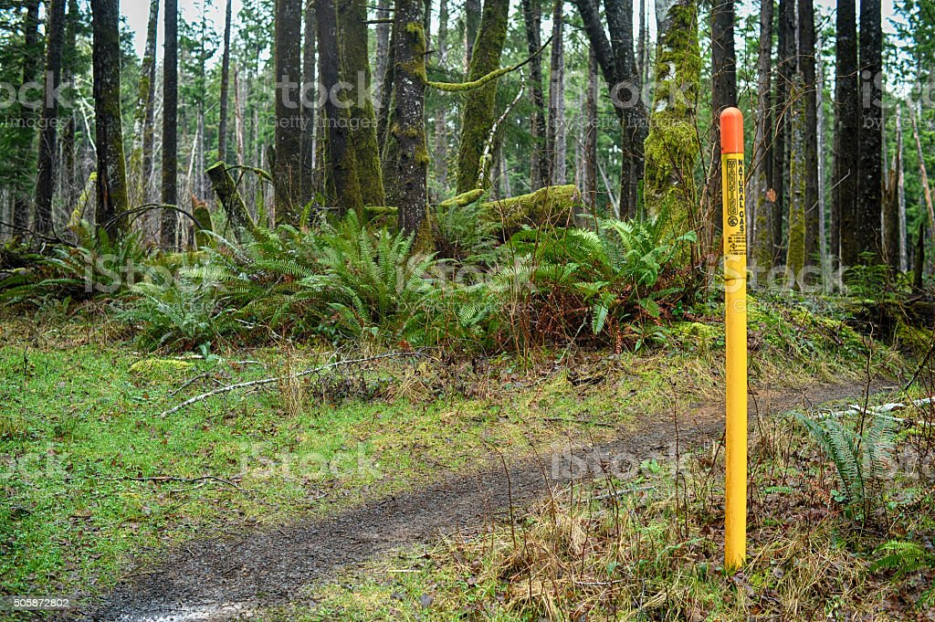 natural gas pipeline marker stock photo