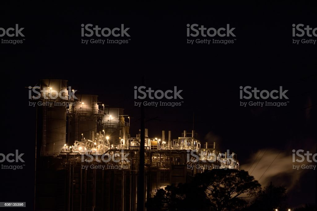 Natural Gas Power Plant at Night stock photo