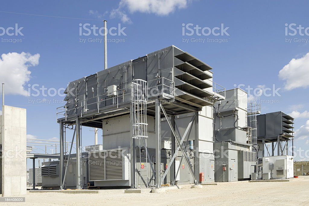 Natural gas powered electrical power plant turbine stock photo