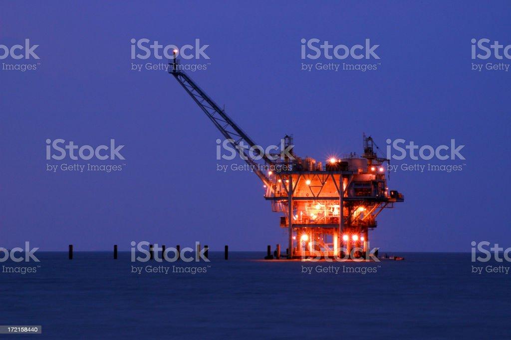 Natural Gas Rig, Night royalty-free stock photo