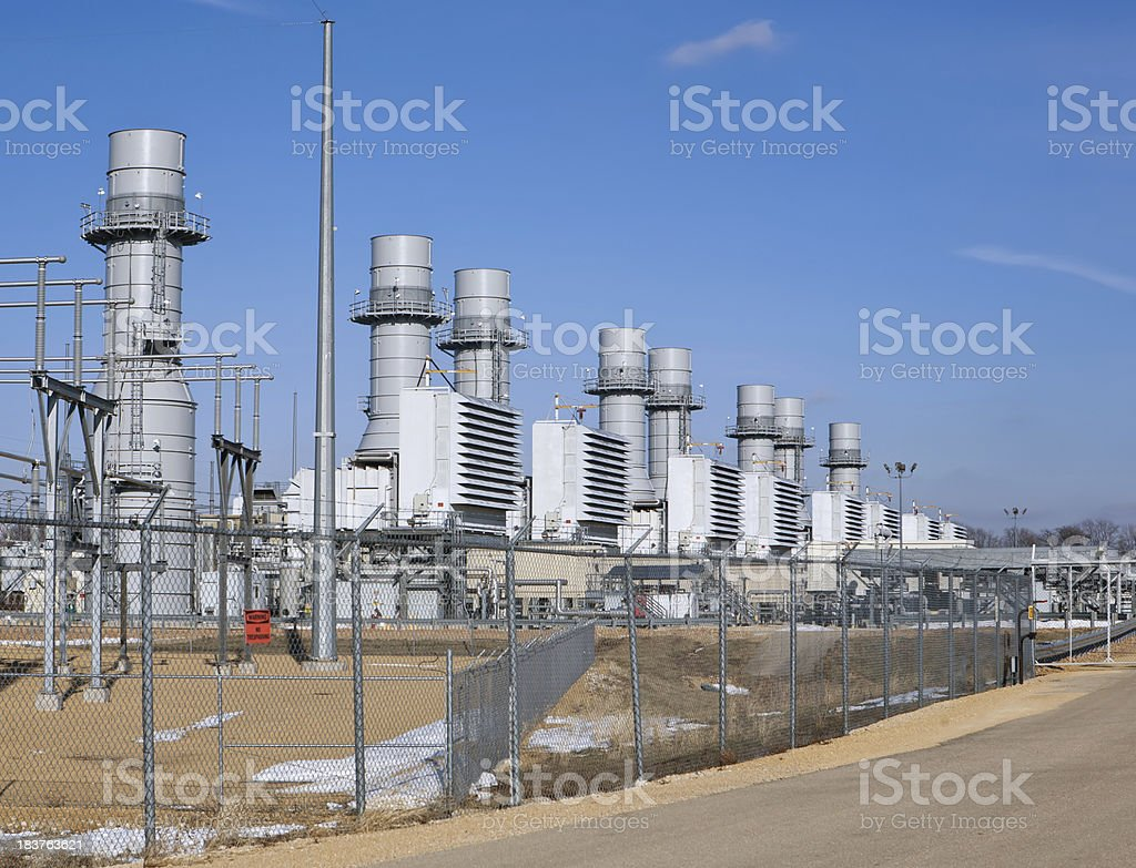 natural gas turbines power station royalty-free stock photo