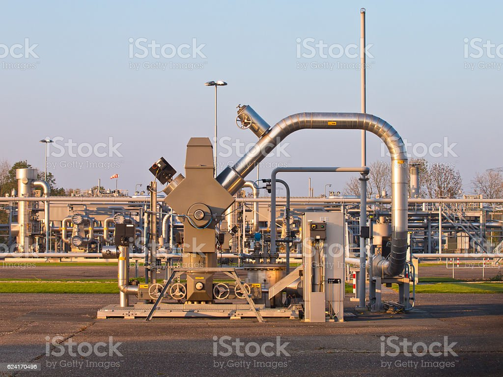Natural gas well processing plant backdrop stock photo