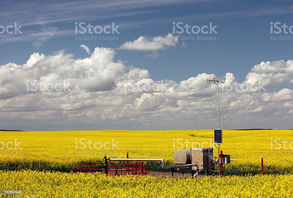 Natural Gas Wellhead in the Midwest stock photo