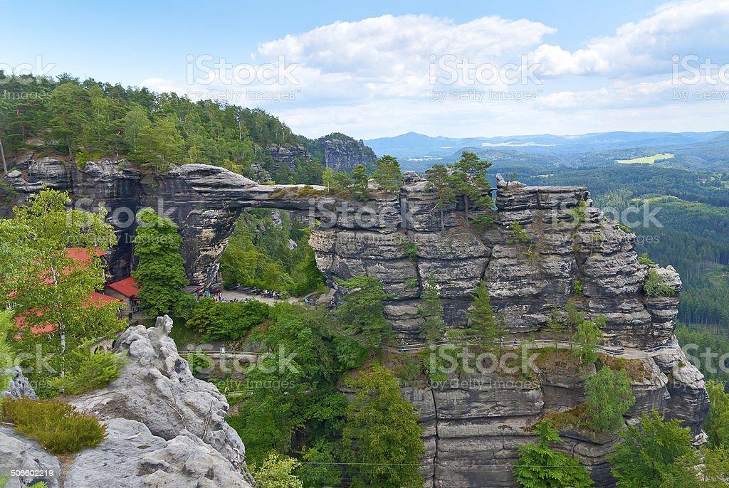 Natural Gate Pravcicka brana at Czech Switzerland stock photo
