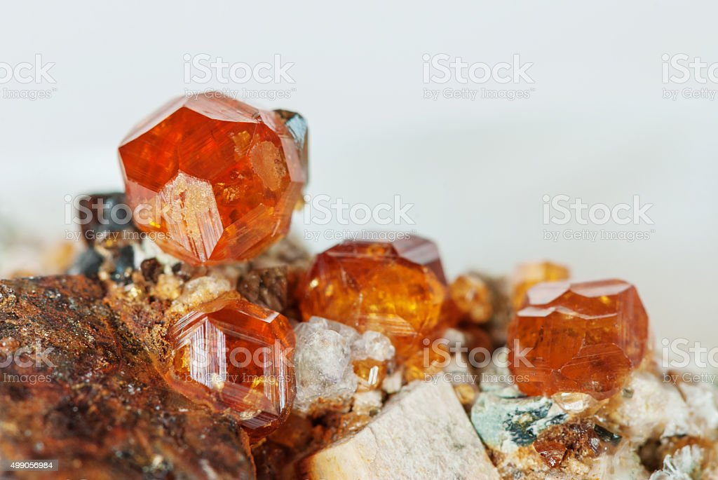 Natural gemstone Spessartite stock photo