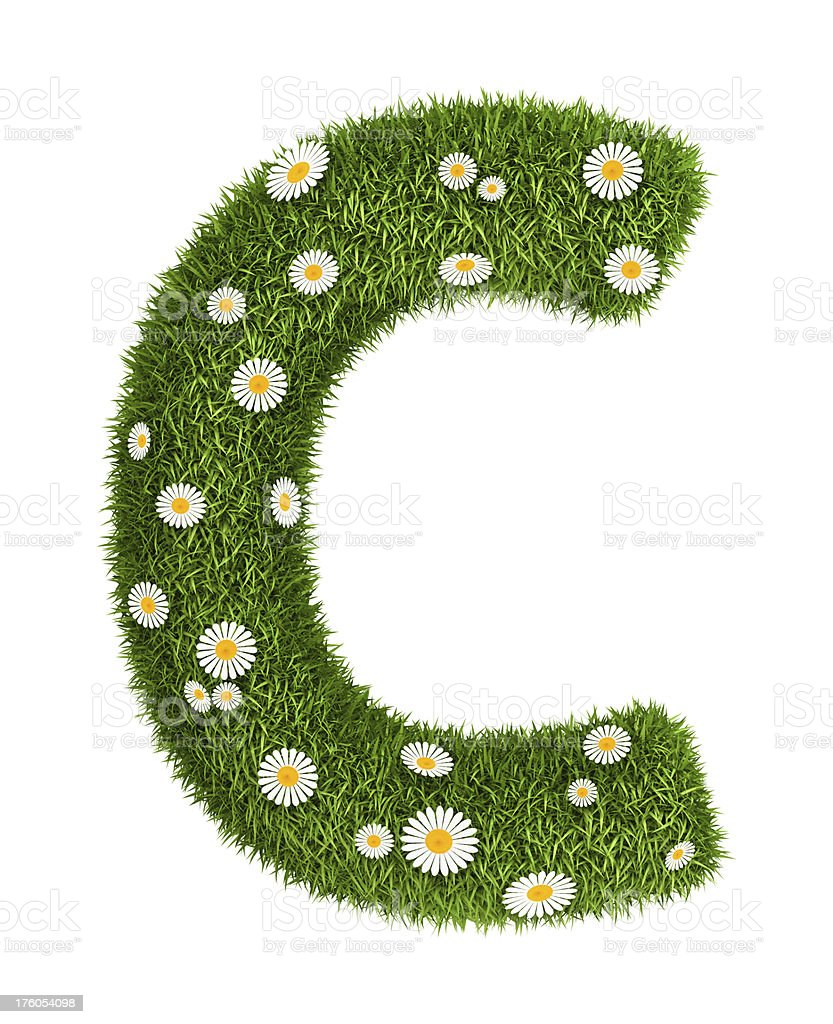 Natural grass letter C royalty-free stock photo