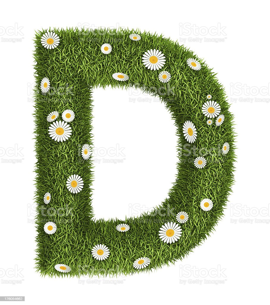 Natural grass letter D royalty-free stock photo
