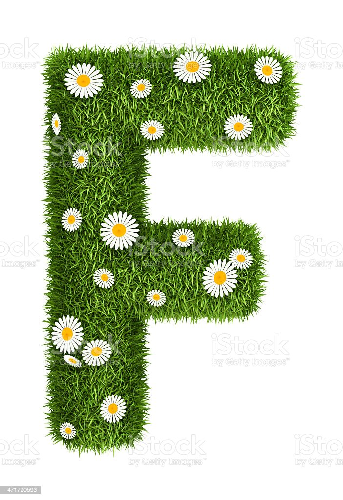 Natural grass letter F royalty-free stock photo