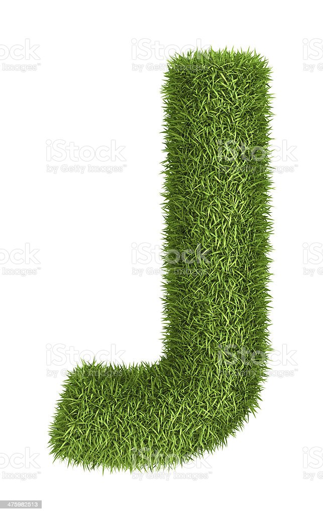 Natural grass letter J royalty-free stock photo