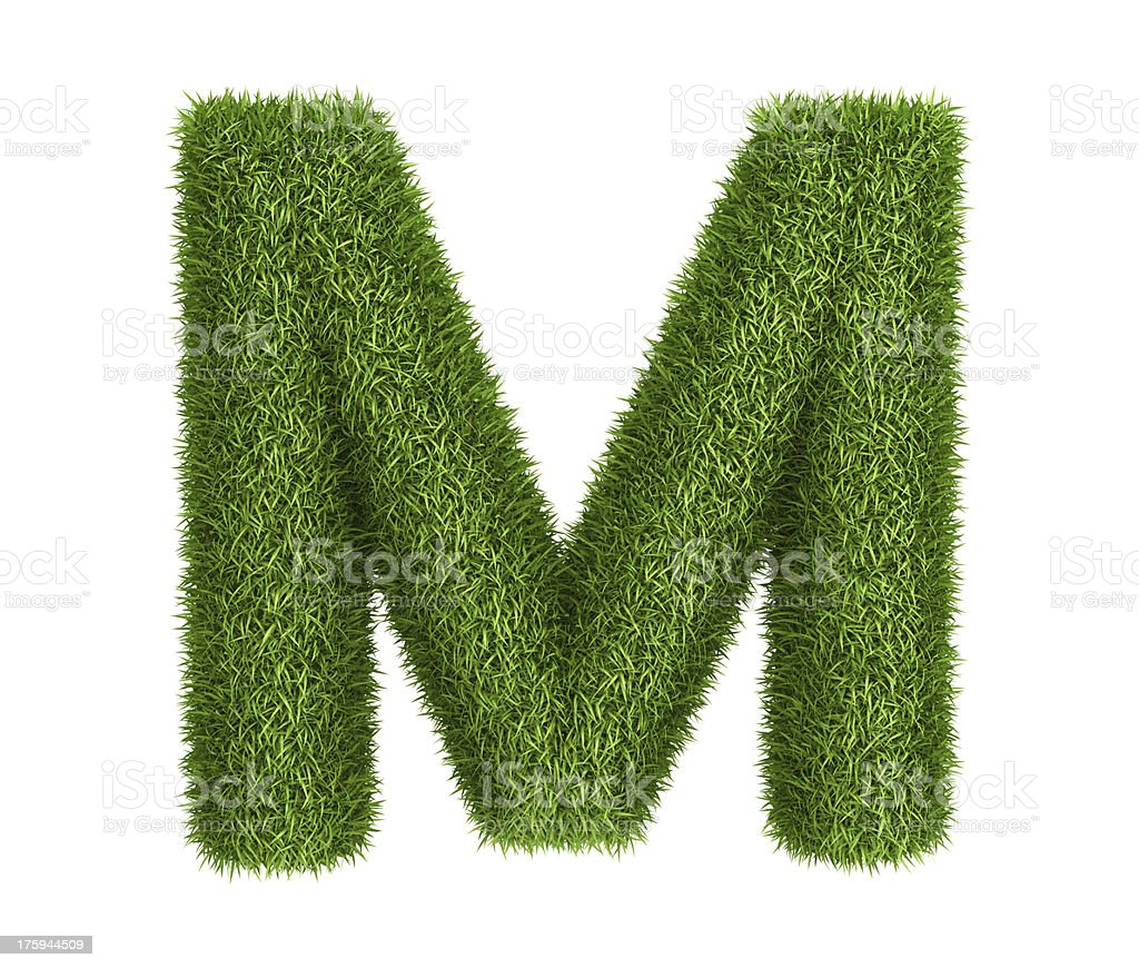 Natural grass letter M royalty-free stock photo