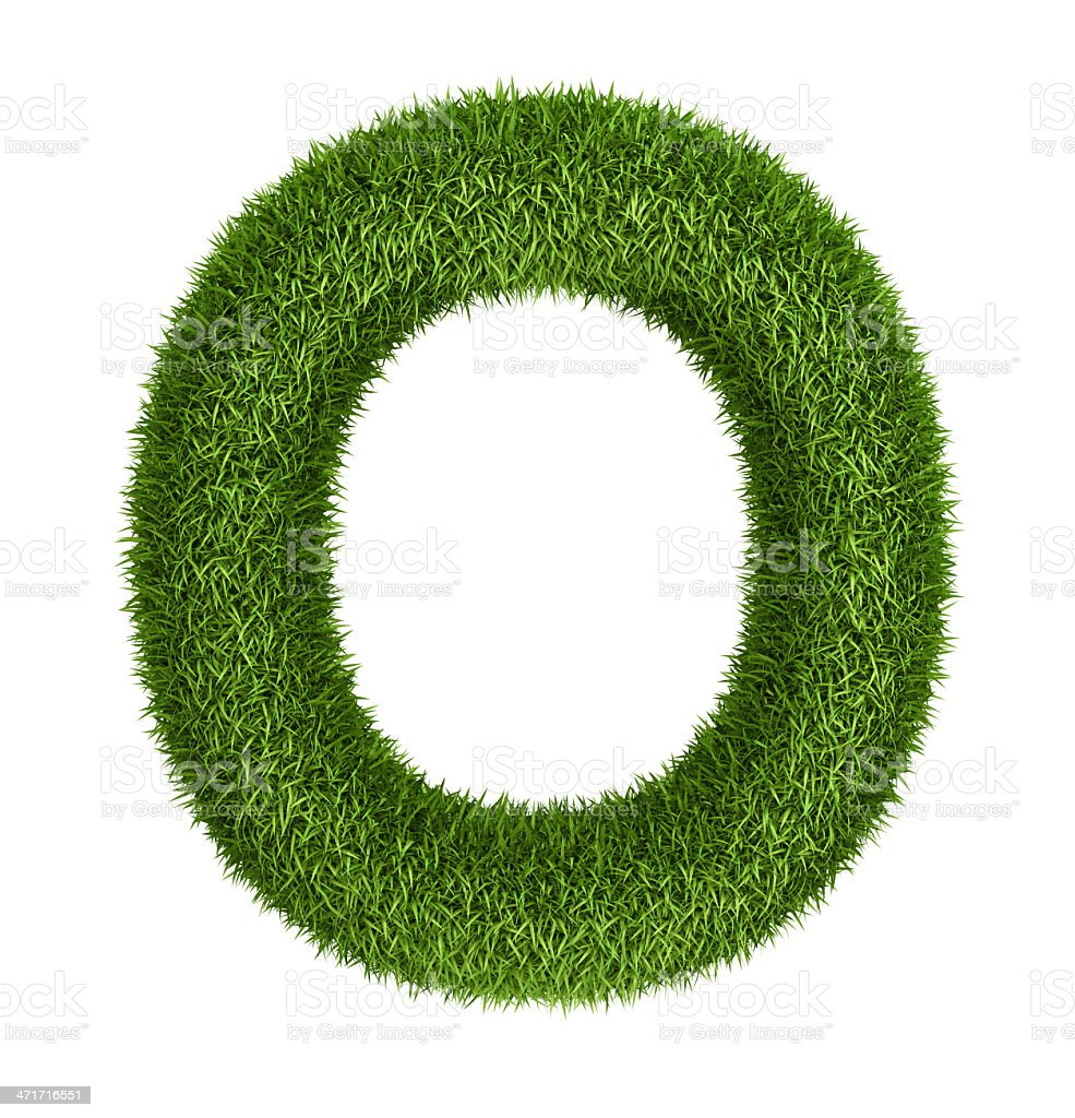 Natural grass letter O royalty-free stock photo
