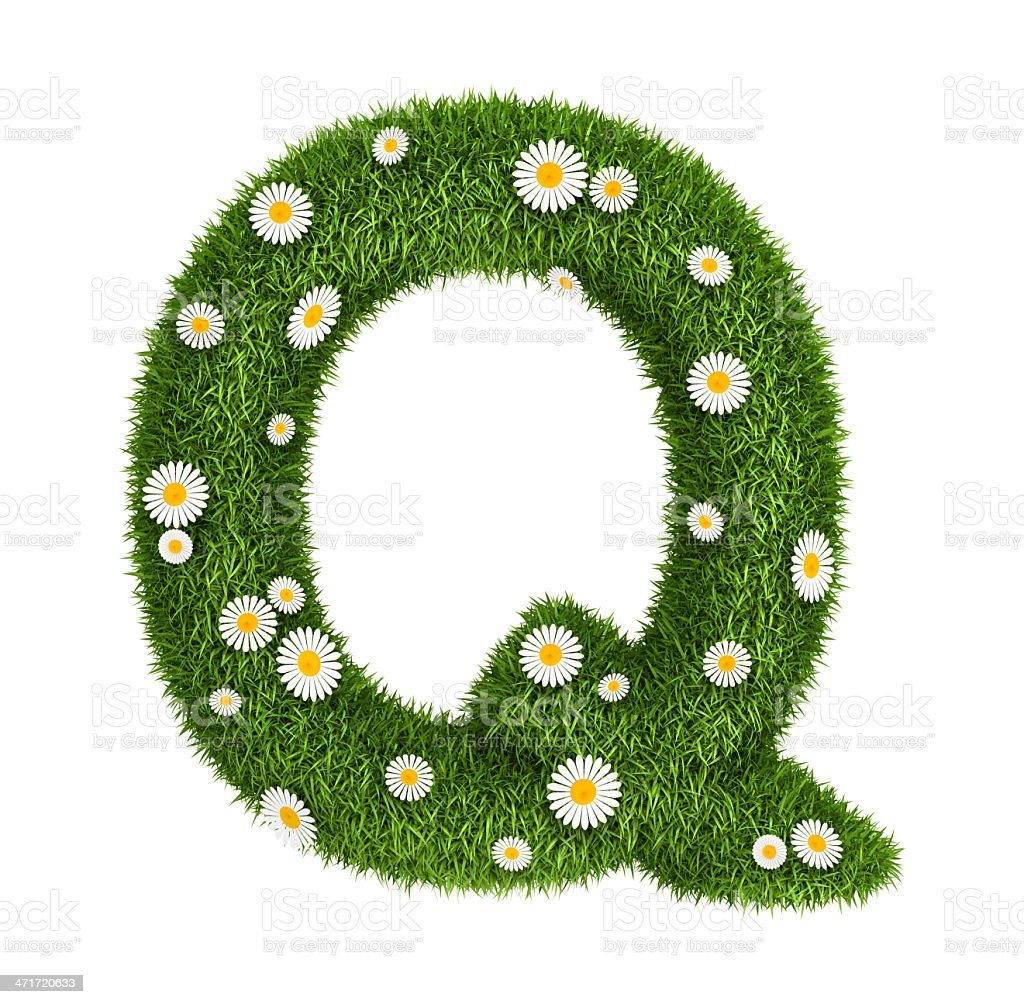 Natural grass letter Q royalty-free stock photo