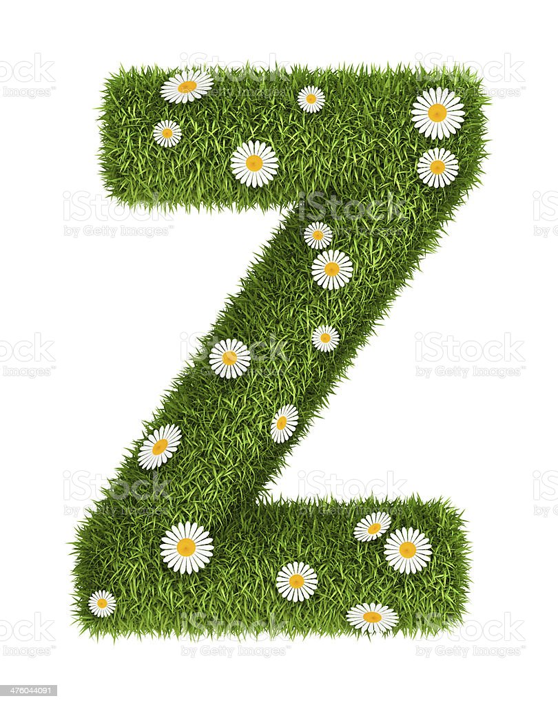 Natural grass letter Z royalty-free stock photo