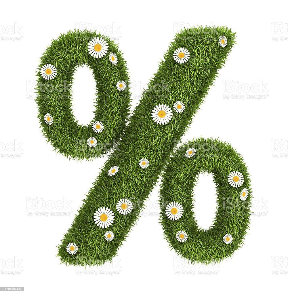Natural grass percent sign royalty-free stock photo