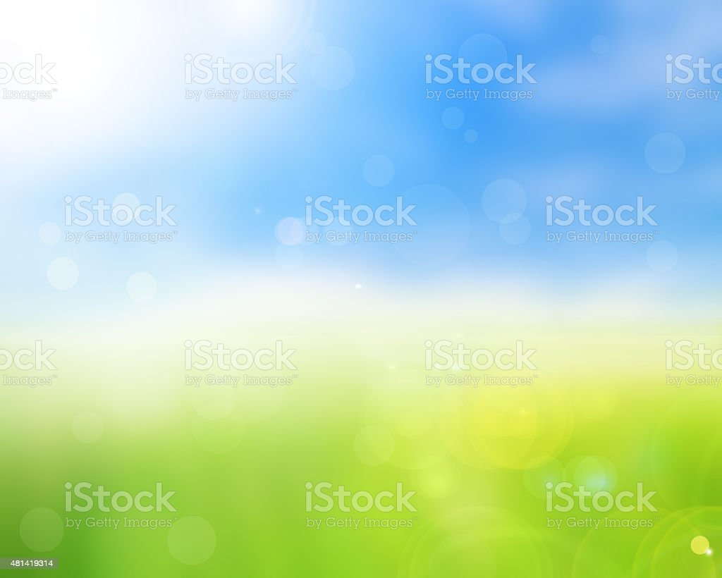 natural green bright spring with sunlight bokeh background stock photo