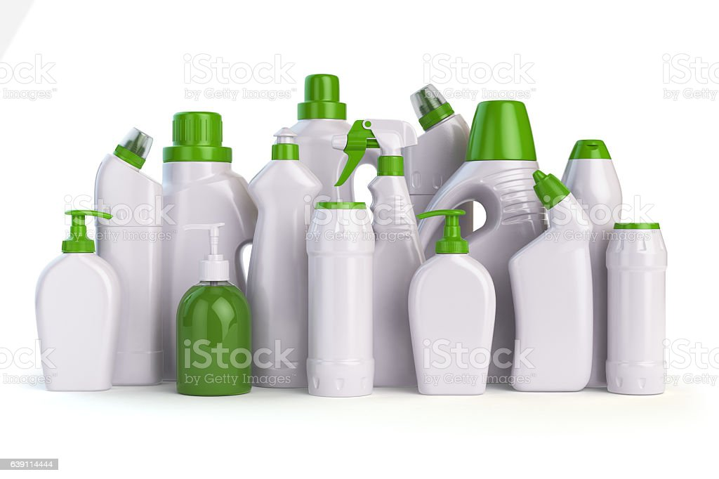 Natural green detergent bottles or containers. Cleaning supplies vector art illustration