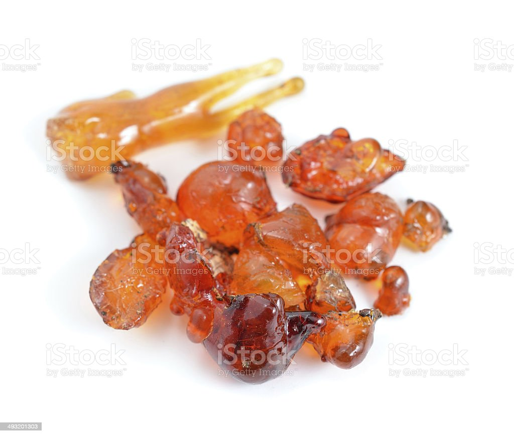 Natural gum of apricot tree. stock photo