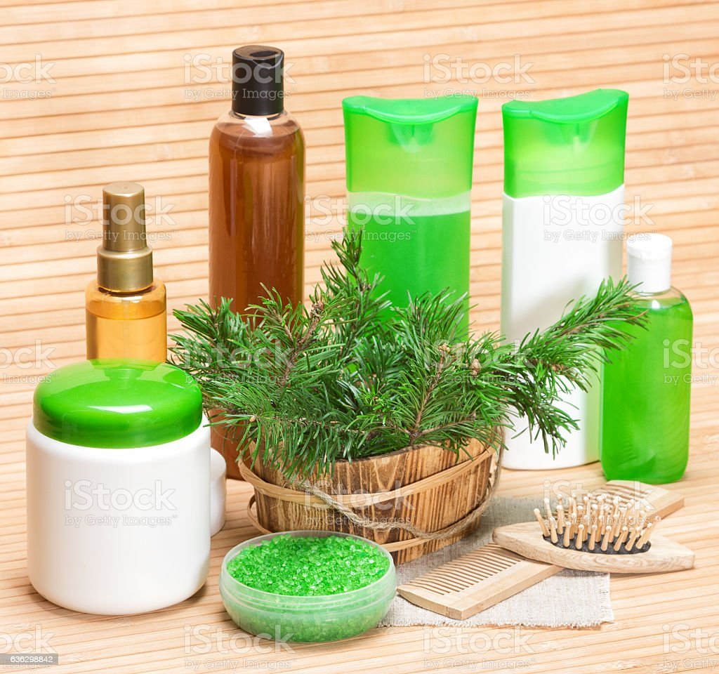 Natural hair care cosmetic products and accessories. Sea salt,...