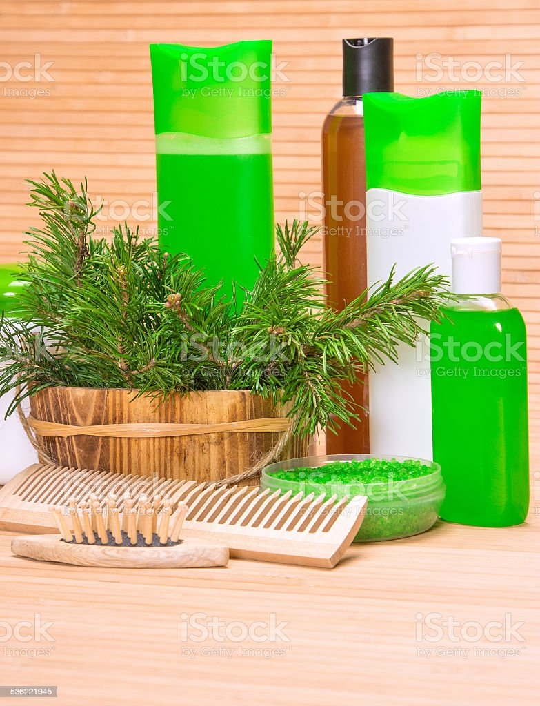 Natural hair care cosmetics and accessories stock photo