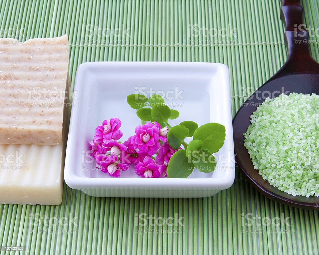 Natural handmade soap and bath salt for spa royalty-free stock photo