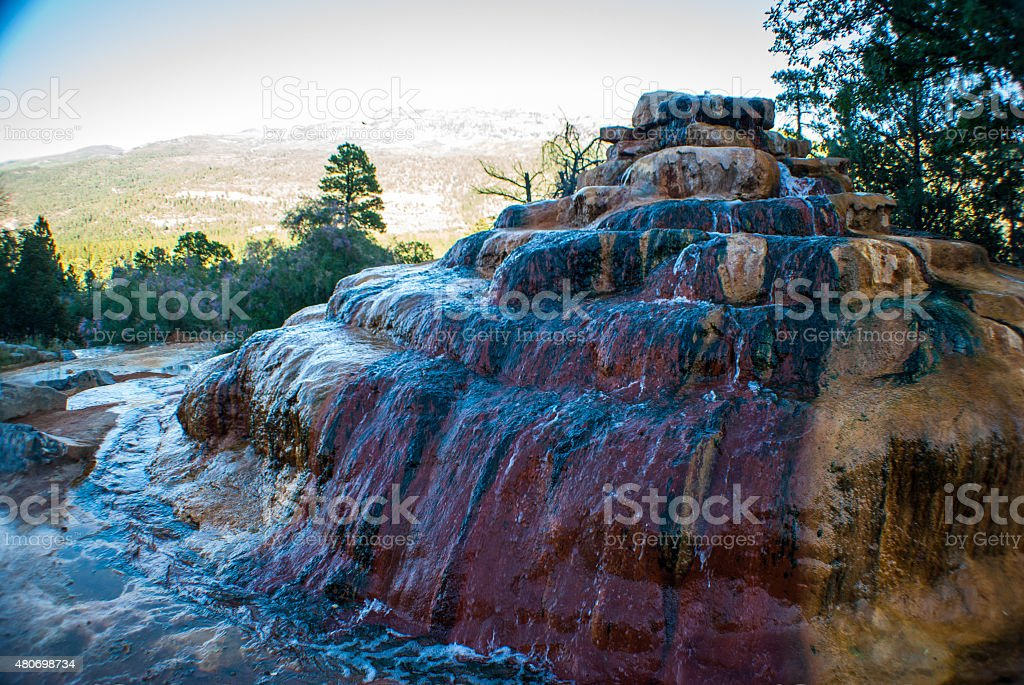 Natural Hot Spring Mineral Collection in Colorado stock photo