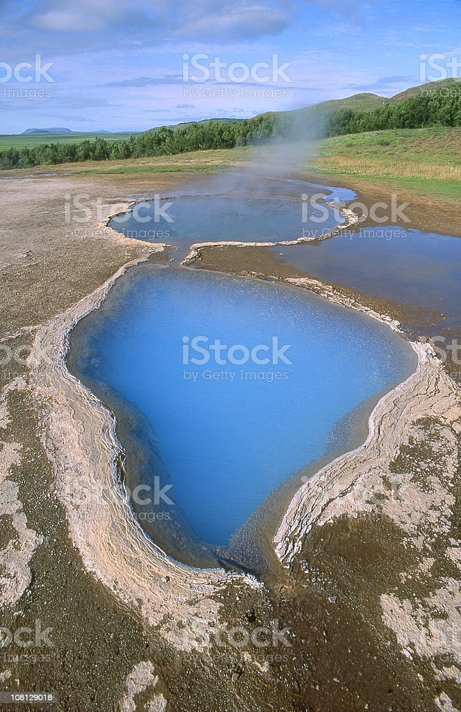 Natural Hotspring Landscape Beside Forest royalty-free stock photo