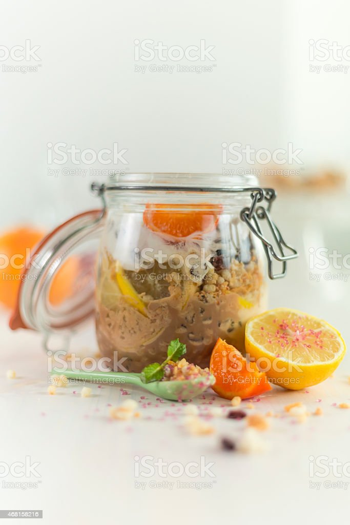 natural ingredient cereal with banana and lemon flavour and sprinkles stock photo