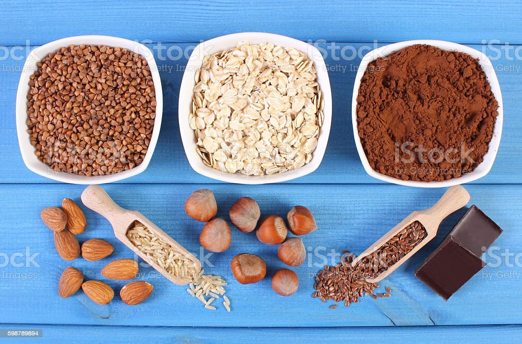 Natural ingredients and products containing magnesium and dietary fiber stock photo