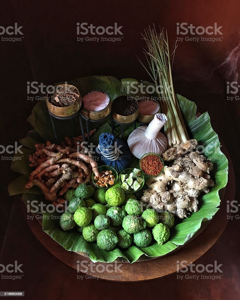 Natural ingredients for Thai spa herbal compress ball stock photo