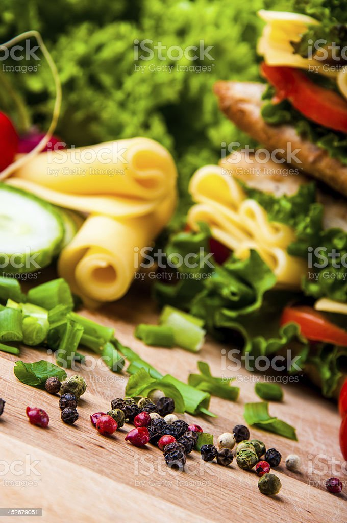 Natural ingredients, traditional sandwich stock photo