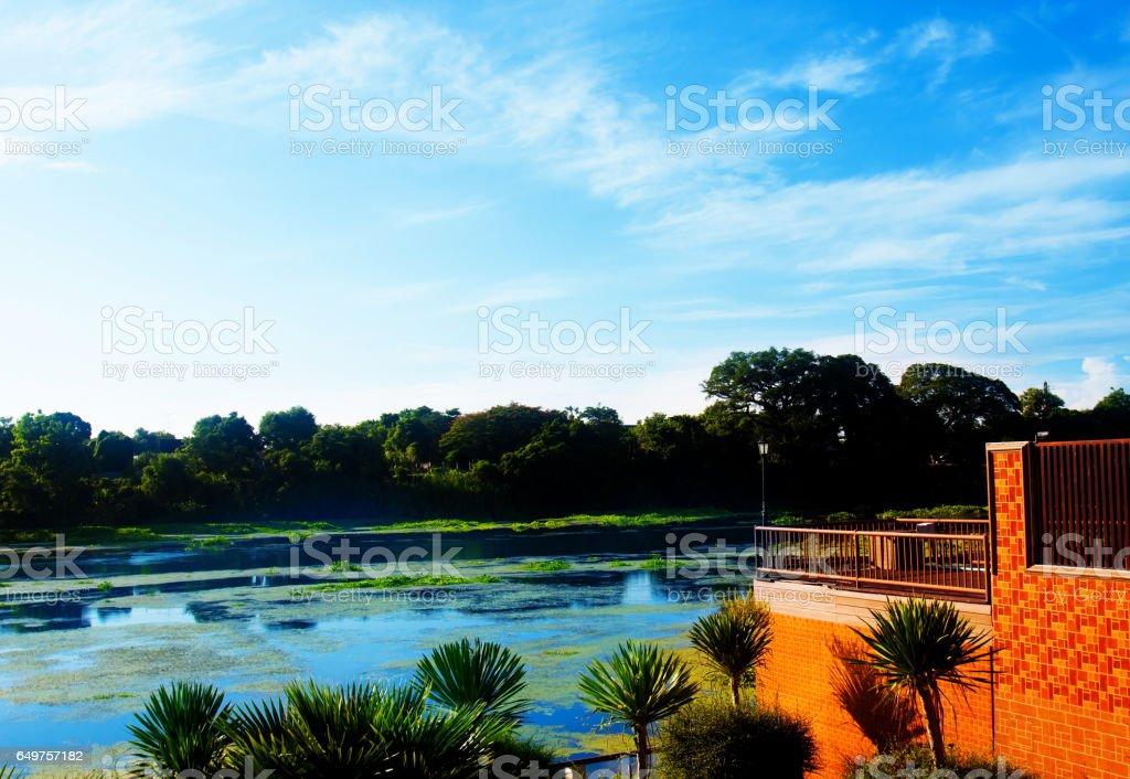 Natural landscape river view stock photo