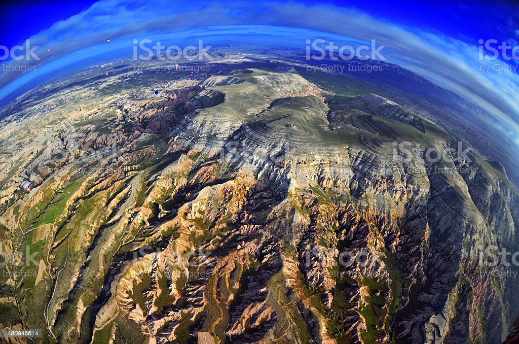 Natural landscape with ancient colorful sandstone formations in rocky mountains stock photo
