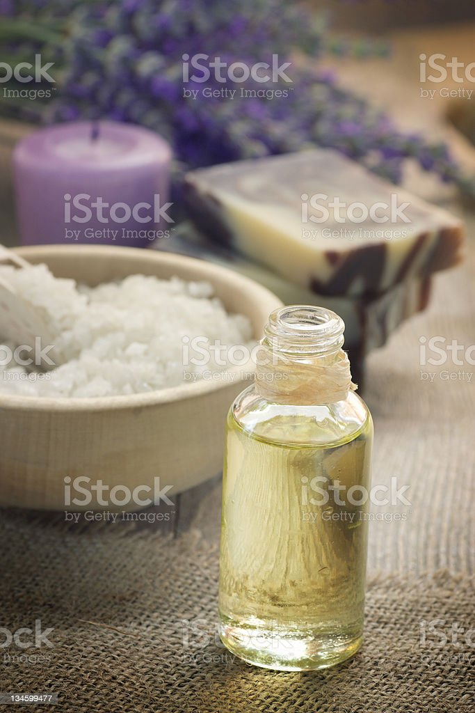 Natural lavender oil and soap royalty-free stock photo