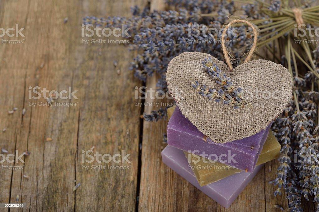 Natural lavender soap stock photo