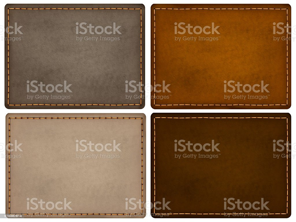 Natural leather texture labels with stitch strings stock photo