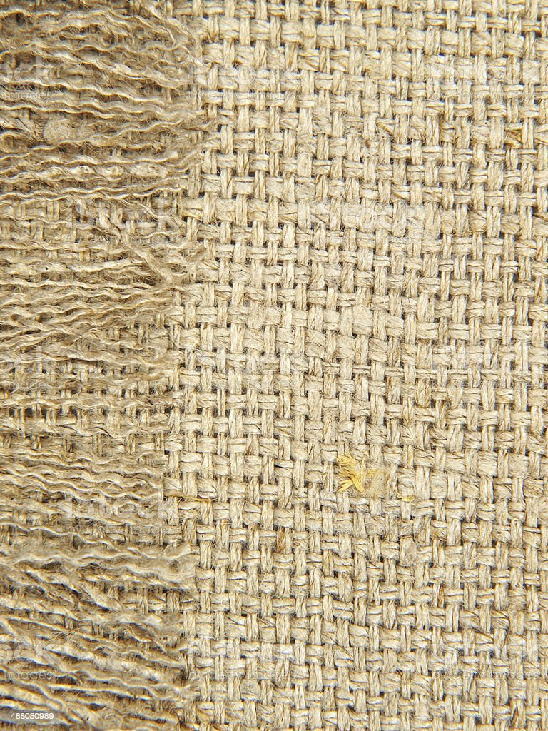 Natural linen texture with fringe taken closeup.Background. royalty-free stock photo