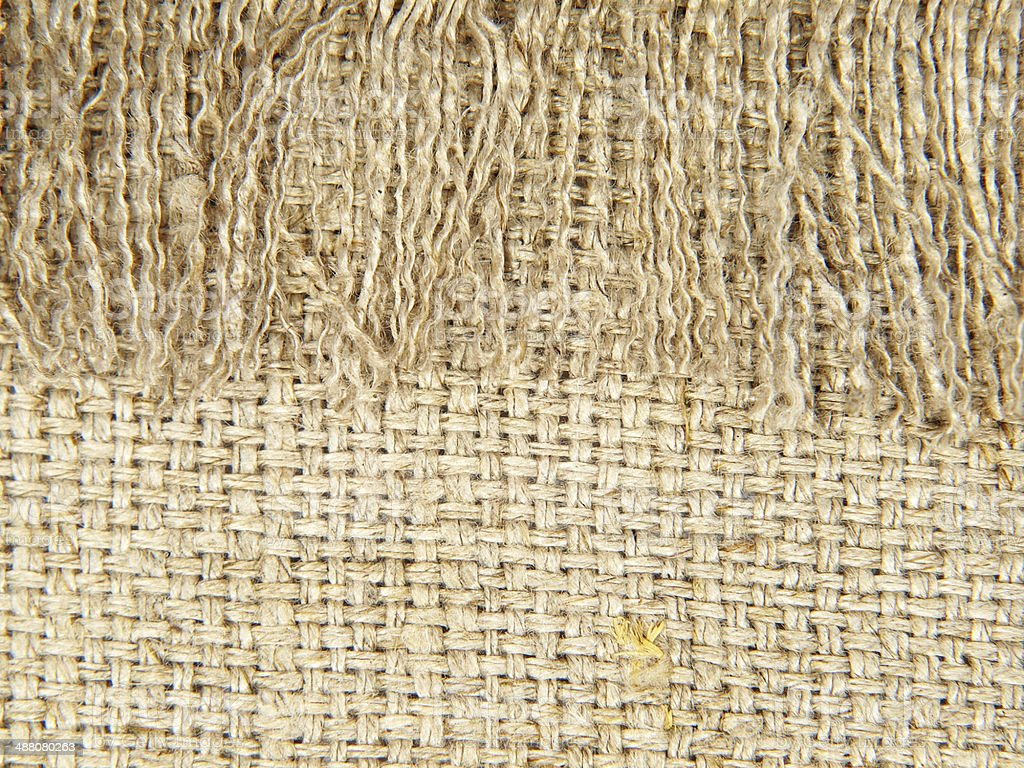 Natural linen texture with fringe.Abstract background. royalty-free stock photo