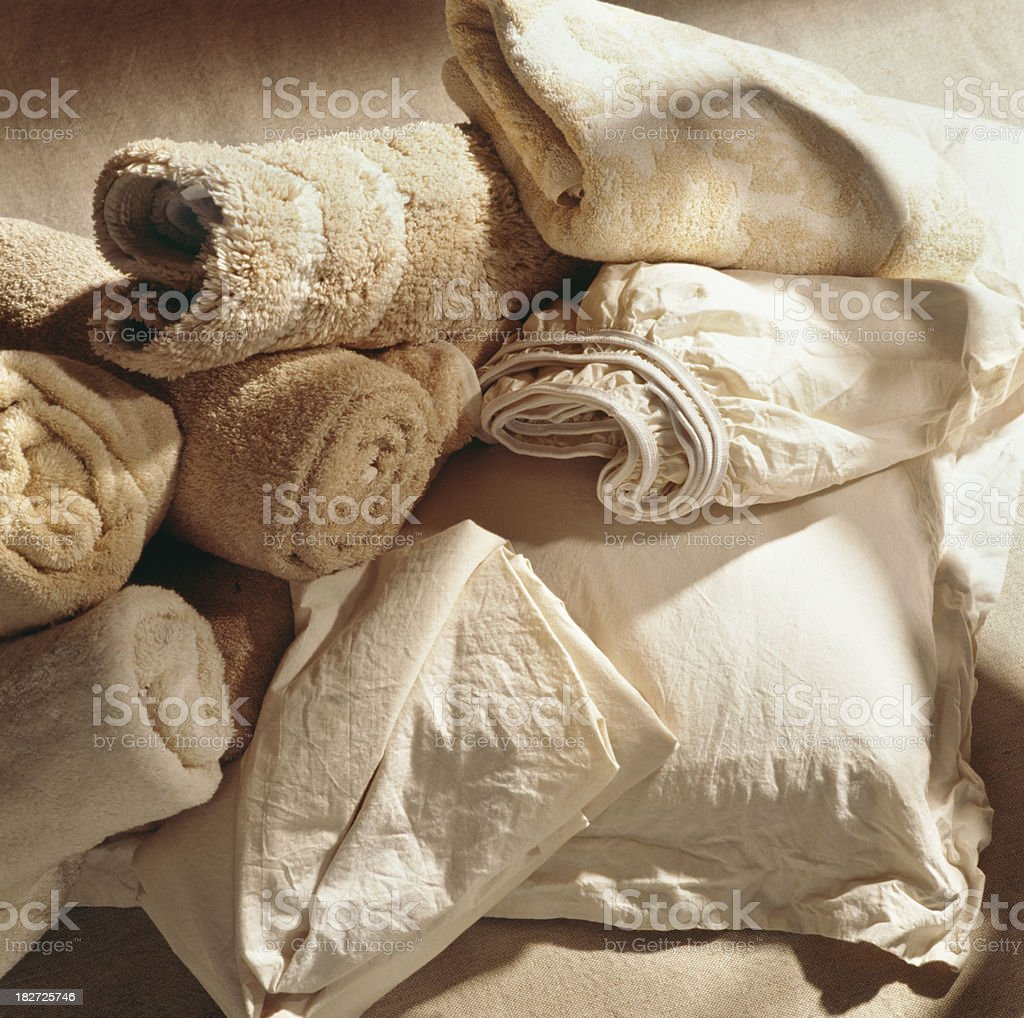 Natural linens and towels royalty-free stock photo