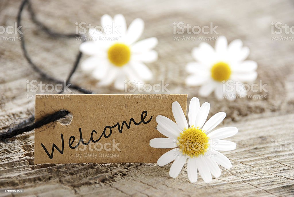 natural looking label with welcome stock photo