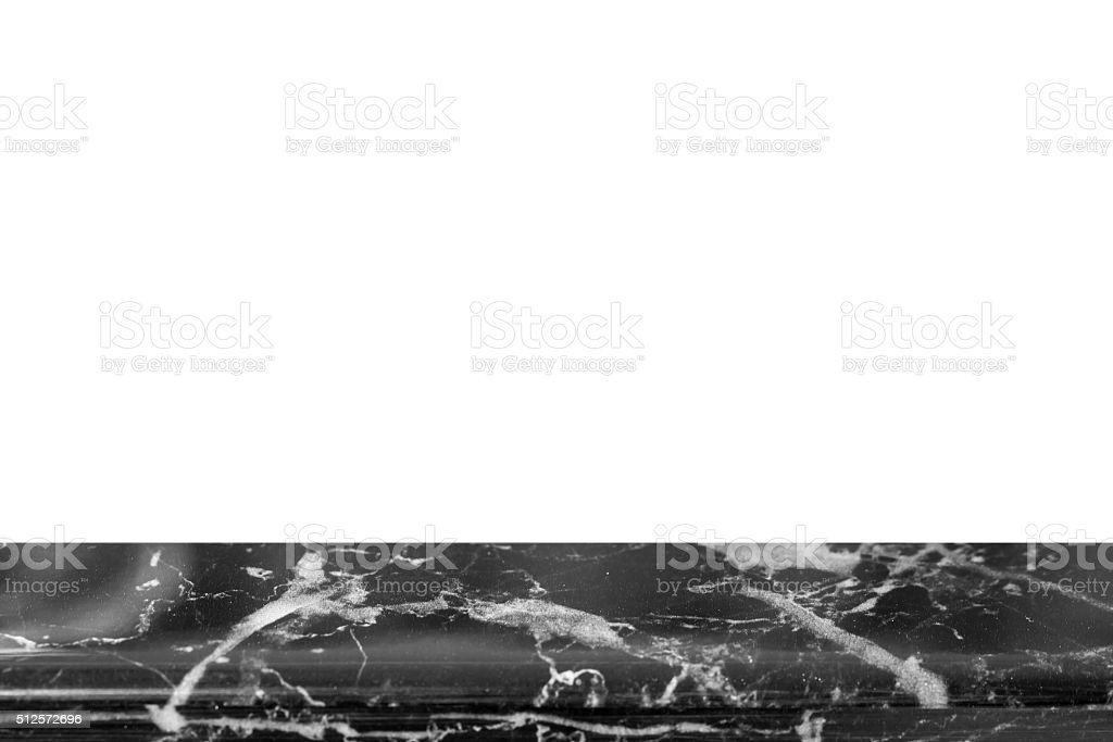 Natural marble black and white top on white background. stock photo