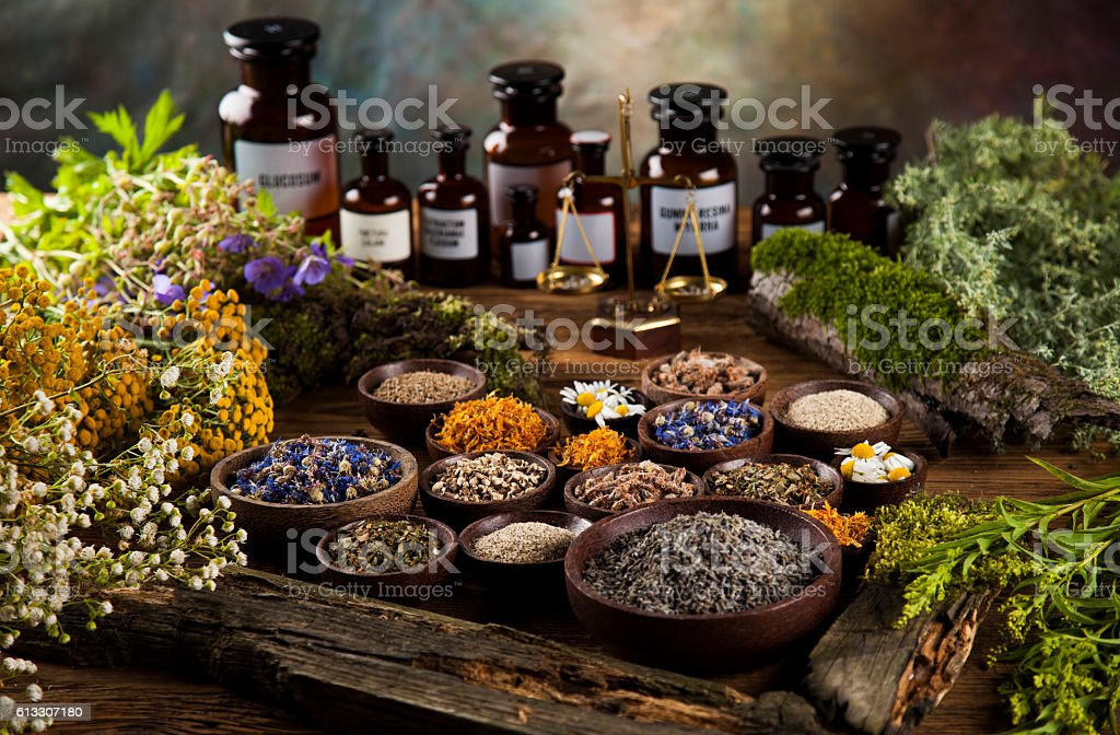 Natural medicine on wooden table background stock photo
