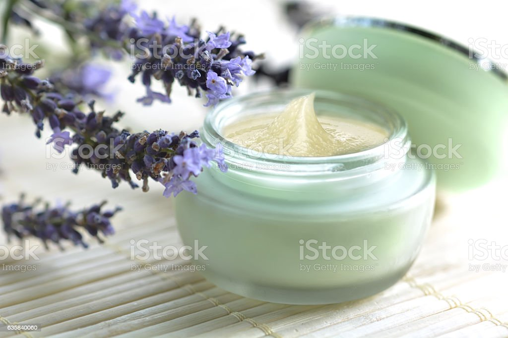 Natural moisturizing face cream with lavender. stock photo
