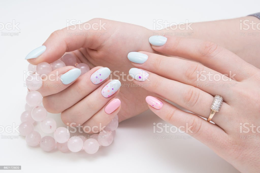 Natural nails and amazing clean manicure. Gel polish applied.