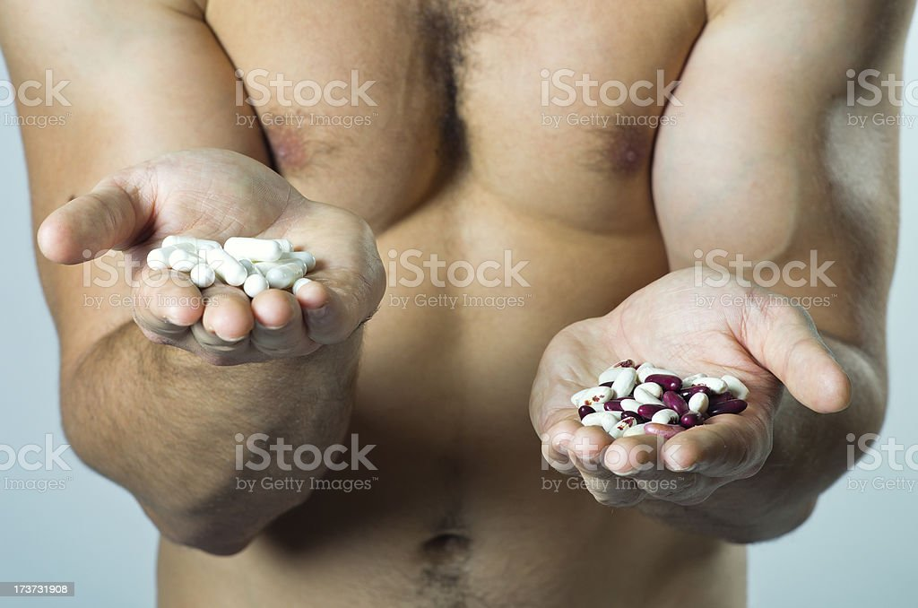 natural or synthetic food? stock photo