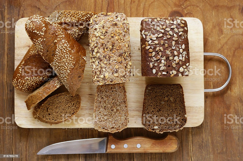 Natural organic bread made from whole wheat flour stock photo