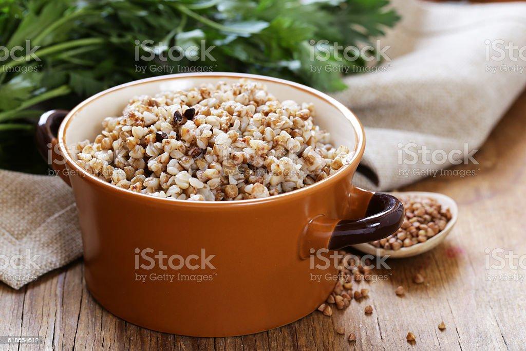Natural organic buckwheat cereal. Boiled buckwheat porridge stock photo