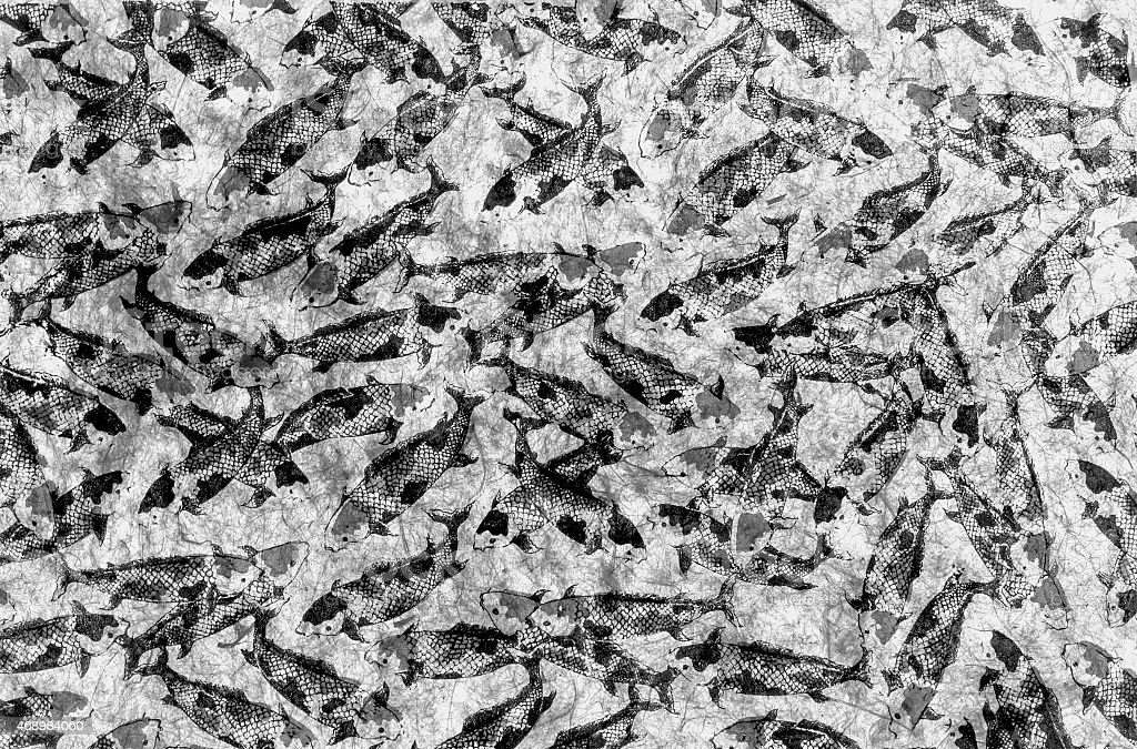 Natural paper with fish pattern black and white royalty-free stock photo