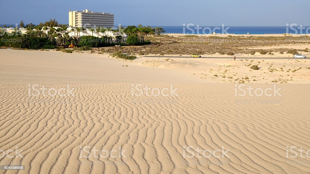 Natural park Corralejo with hotel on the beach. stock photo