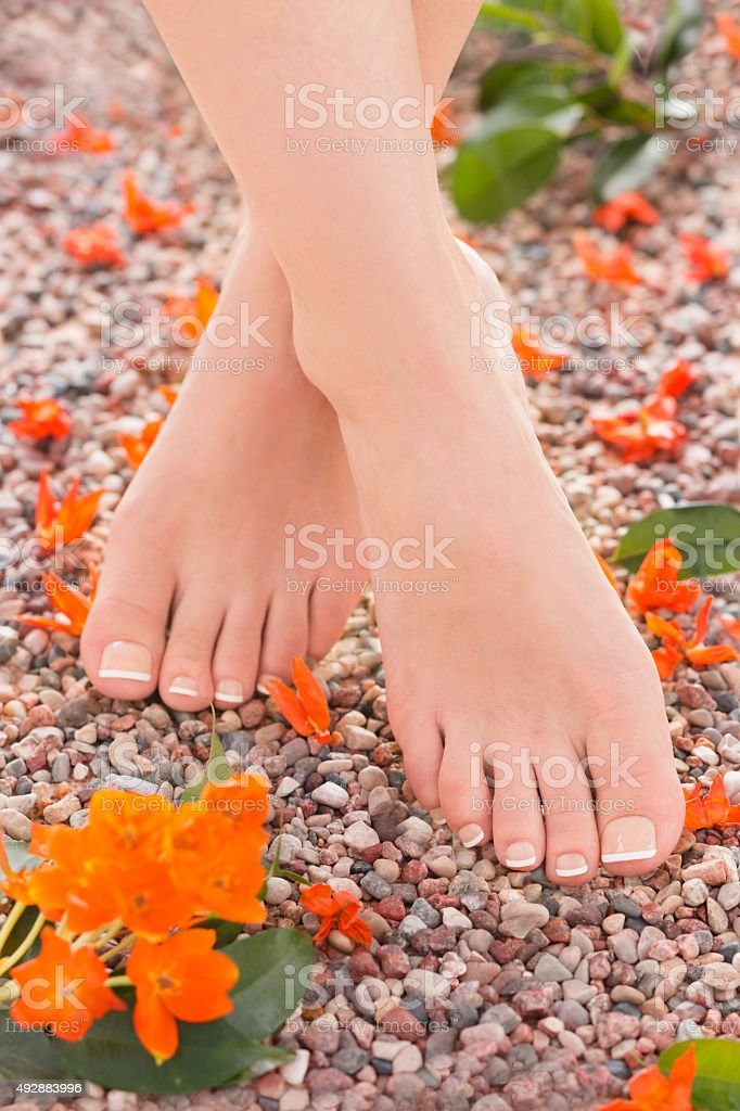 Natural Pedicure and Orange Star Flowers in Nature royalty-free stock photo